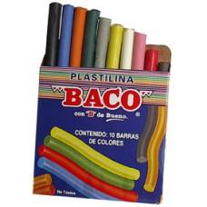 PLASTILINA BACO C/10 BARRITAS COLORES SURTIDOS     [C100]