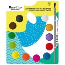 ACUARELA BARRILITO C/12 COLORES CON PINCEL MOD AC12E  [E12C72]