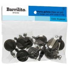 BROCHE RETRACTIL BARRILITO TIPO YOYO HUMO C/10             [E5 C10]