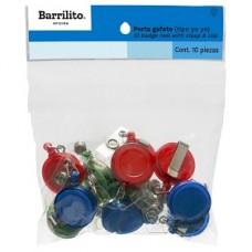 BROCHE RETRACTIL BARRILITO TIPO YOYO COLORES C/12          [E5 C10]
