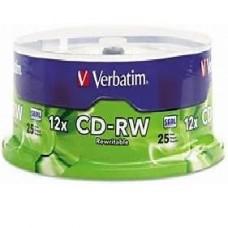 TORRE CD-RW VERBATIM 80MIN 700MB 12X C/25